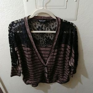 Black and Brown Stripped Top with Laced Back